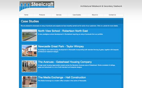 Screenshot of Case Studies Page steelcraftuk.com - A selection of case studies including railings, gates, balustrades, fencing and balconies - Steelcraft - captured Oct. 7, 2014