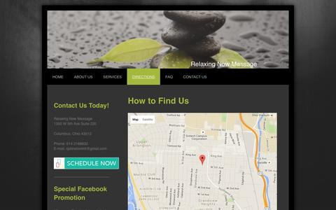 Screenshot of Maps & Directions Page relaxingnowmassage.com - Relaxing Now Massage - Directions - captured Jan. 11, 2016