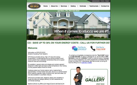 Screenshot of Home Page spectrumstucco.ca - Spectrum Stucco Inc  - Stucco Services Hamilton - captured Oct. 3, 2014