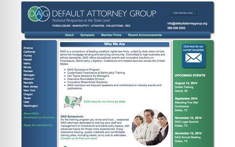 Screenshot of Home Page defaultattorneygroup.org captured Oct. 6, 2014