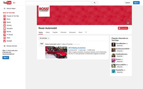 Screenshot of YouTube Page youtube.com - Rossi Automobili  - YouTube - captured Oct. 26, 2014