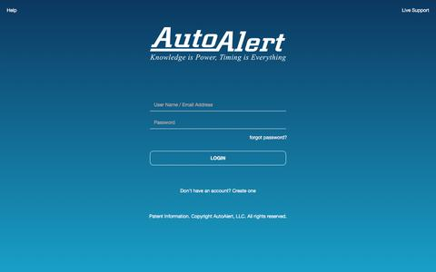Screenshot of Login Page autoalert.com - AutoAlert | Login - captured Dec. 7, 2019