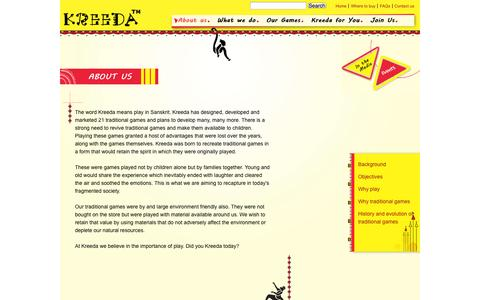Screenshot of About Page kreedagames.com - About us | Kreeda Games - captured Sept. 16, 2014
