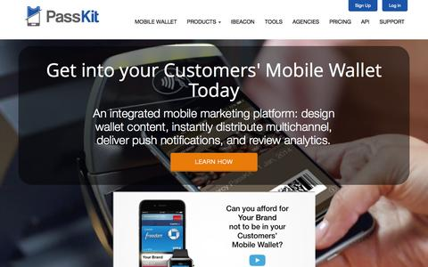 Screenshot of Home Page passkit.com - Mobile Wallet Cloud Solutions - PassKit - captured Oct. 10, 2014