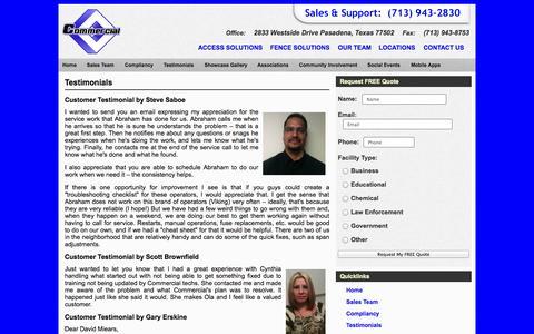 Screenshot of Testimonials Page commercialfence.com - Testimonials - captured Sept. 30, 2014