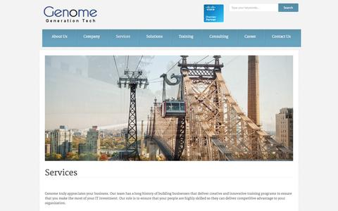 Screenshot of Services Page gtcme.com - Genome   » Services - captured Oct. 2, 2014