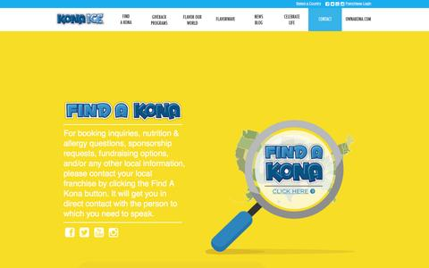 Screenshot of Contact Page kona-ice.com - Contact Kona Ice - captured Jan. 29, 2016