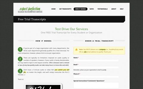 Screenshot of Trial Page expectperfection.com - Free Trial Transcripts - captured Oct. 3, 2014