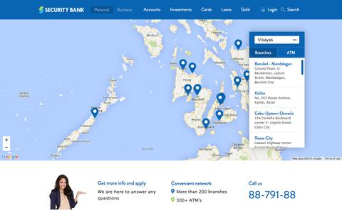 Screenshot of Maps & Directions Page securitybank.com - Branch and ATM Map - Security Bank Philippines - captured Jan. 17, 2016