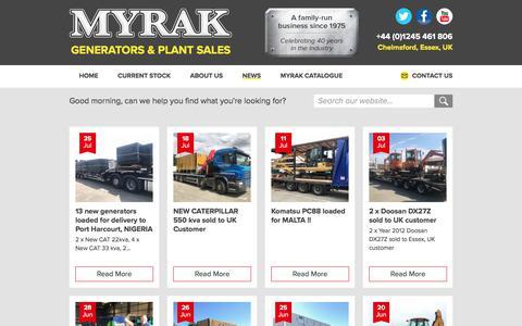 Screenshot of Press Page myrak.com - Latest News - Myrak Generators & Plant Sales - captured July 27, 2018