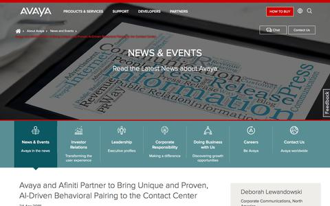 Screenshot of Press Page avaya.com - Avaya and Afiniti Partner to Bring Unique and Proven, AI-Driven Behavioral Pairing  to the Contact Center - captured May 3, 2018