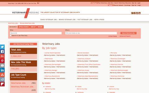 Screenshot of Jobs Page veterinarycrossing.com - Veterinary Jobs, Browse Jobs in Veterinary By Job Type, City, State in United States   VeterinaryCrossing.com - captured Jan. 10, 2016