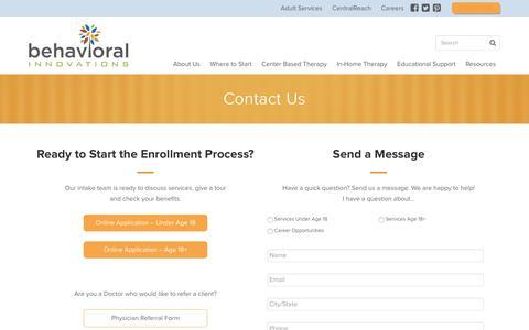 Screenshot of Contact Page behavioral-innovations.com - Contact Us | Behavioral Innovations - captured June 1, 2017