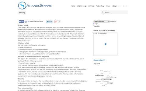 Screenshot of Privacy Page atlanticsynapse.com - Privacy | AtlanticSynapse Technology Agency - captured Oct. 4, 2014