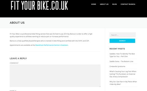Screenshot of About Page fityourbike.co.uk - About Us – Fit Your Bike - captured Nov. 6, 2018