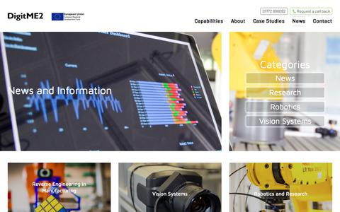 Screenshot of Press Page digitme.co.uk - Manufacturing a more efficient future through the adoption of new process, technology and systems - DigitME2 - captured Aug. 7, 2018