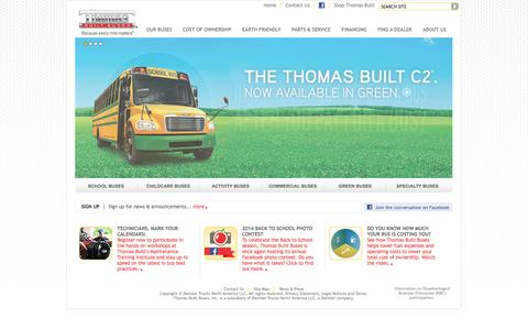 Screenshot of Home Page thomasbus.com - Bus Manufacturers, Bus Builders - Thomas Built Buses - captured Oct. 7, 2014