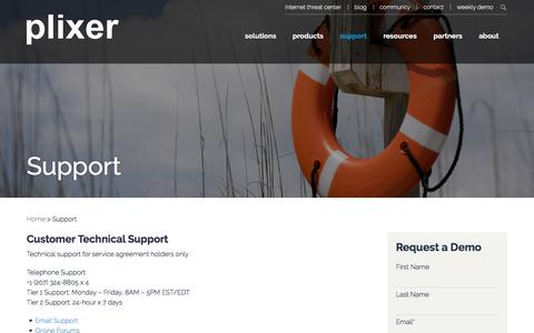Screenshot of Support Page plixer.com - Support - Plixer.com - captured June 12, 2017