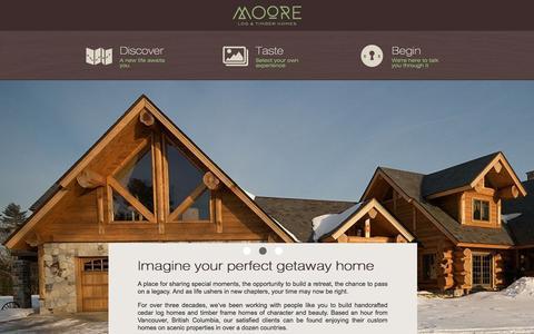 Screenshot of Home Page mltfh.com - Imagine your perfect cedar log home or timber frame house - captured Oct. 8, 2014