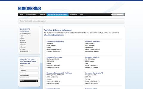Screenshot of Contact Page Locations Page euroresins.com - - technical & commercial support - captured Jan. 26, 2016
