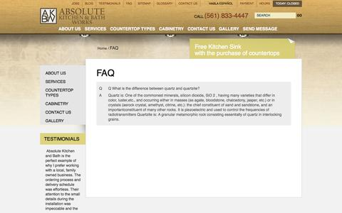 Screenshot of FAQ Page absolutekitchen.us - Custom Baths FAQ West Palm Beach | Countertop Fabricator Questions - captured Oct. 4, 2014
