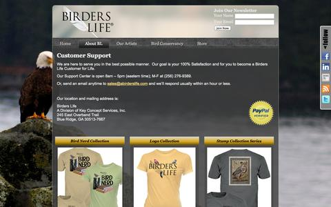 Screenshot of Support Page abirderslife.com - Birders Life: Customer Support | Birder's Life | Beautifully Illustrated Graphic Birding Tees For Men And Women - captured Oct. 5, 2014