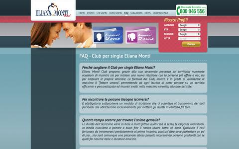 Screenshot of FAQ Page elianamonti.it - Club per single Eliana Monti - Faq - captured Sept. 27, 2018