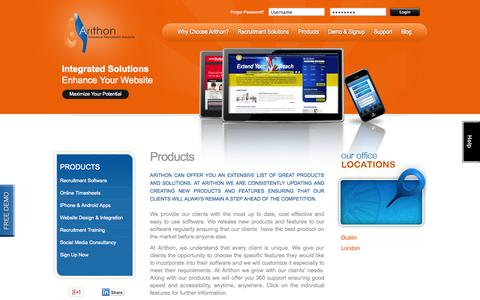 Screenshot of Products Page arithon.com - Recruiting Software | Recruitment website design | Mobile Job Apps - captured Oct. 10, 2014