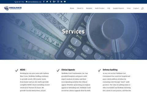 Screenshot of Services Page medlinkscostcontainment.com - Services - Medlinks Cost Containment - captured Oct. 17, 2018
