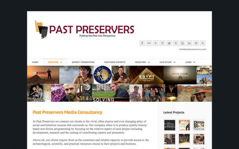 Screenshot of Services Page pastpreservers.com - Media Consultancy « Welcome to Past Preservers - captured July 16, 2018