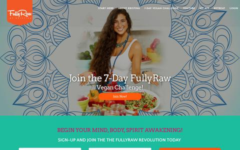 Screenshot of Home Page fullyraw.com - Join The FullyRaw Revolution! - captured Sept. 27, 2018