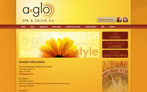 Screenshot of Contact Page aglospa.com - Contact A•Glo Spa & Salon Co. in Janesville, WI | An Aveda Concept Salon in Janesville, WI - captured Oct. 2, 2014
