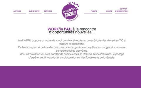 Screenshot of Home Page workinpau.com - Work in Pau - Espace collaboratif de travail - captured Oct. 1, 2014
