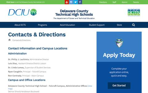Screenshot of Maps & Directions Page delcotech.org - Contacts & Directions | Delaware County Technical High Schools - captured March 26, 2017
