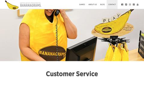 Screenshot of Contact Page Support Page bananagrams.com - Customer Service - We Love to Hear From You! | Bananagrams - captured Nov. 11, 2018