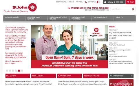 Screenshot of Home Page stjohnambulance.com.au - Ambulance Services - First Aid Provider - St John Ambulance WA - captured Oct. 23, 2017