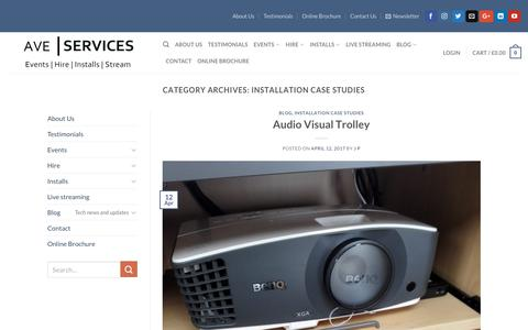 Screenshot of Case Studies Page audiovisualexcellence.co.uk - Installation Case Studies | AVE Services - captured Oct. 7, 2017