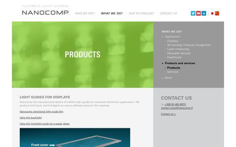 Screenshot of Products Page nanocomp.fi - Products - Nanocomp - captured Oct. 18, 2018