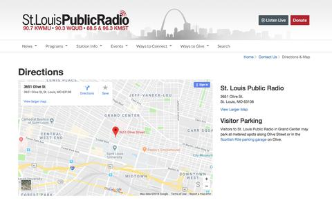 Screenshot of Maps & Directions Page stlpublicradio.org - Directions to St. Louis Public Radio - captured July 3, 2018