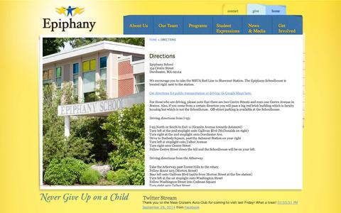 Screenshot of Maps & Directions Page epiphanyschool.com - Epiphany School - captured Sept. 30, 2014
