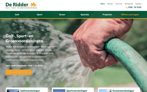 Screenshot of Home Page jderidderbv.nl - De Ridder BV | Golf-, Sport-, Groenvoorzieningen - captured Oct. 7, 2018