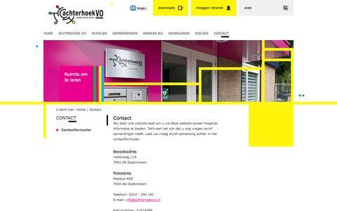 Screenshot of Contact Page achterhoekvo.nl - Contact | Achterhoek VO - captured Sept. 30, 2014