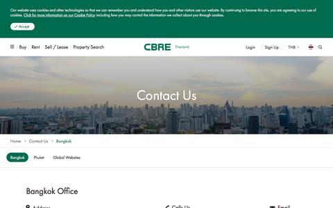 Screenshot of Contact Page cbre.co.th - Contact Us | Bangkok Office | CBRE Thailand - captured Aug. 9, 2019