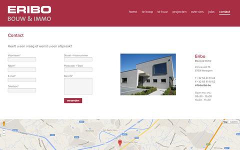 Screenshot of Contact Page eribo.be - Contact - Eribo - captured Oct. 1, 2014