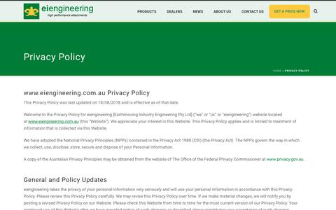 Screenshot of Privacy Page eiengineering.com.au - Privacy Policy - eiengineering excavator attachments - captured Nov. 5, 2018