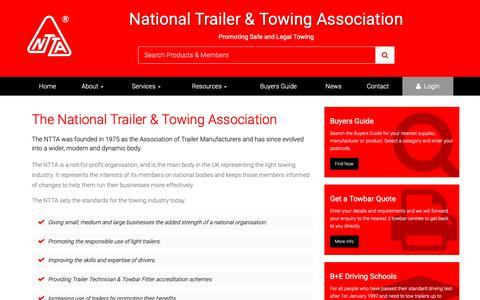 Screenshot of About Page ntta.co.uk - About the National Trailer & Towing Association Ltd - captured Nov. 9, 2018