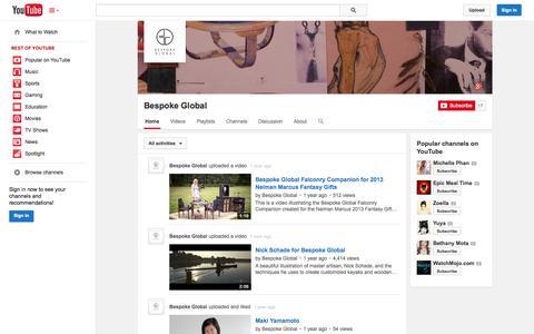 Screenshot of YouTube Page youtube.com - Bespoke Global  - YouTube - captured Oct. 22, 2014