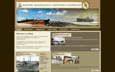 Screenshot of Home Page maaq.org.au - Maritime Archaeological Association of Queensland - captured Oct. 9, 2015