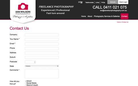Screenshot of Contact Page ianwilsonphotography.com.au - Contact Us – Ian Wilson Photography - captured Nov. 25, 2016