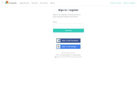 Screenshot of Login Page hotpads.com - Log in | HotPads - captured Nov. 3, 2018